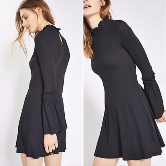 Topshop Black Ribbed Bell Sleeve Skater Dress. M 5b25b16c45c8b35745d7fb4f 55eab594b